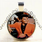 Elvis Presley Cabochon Silver/Bronze/Black/Gold Glass Chain Necklace #6528