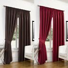 Pair Luxury Faux Silk Fully Lined Curtains Pencil Pleat Tape Top Free Tiebacks
