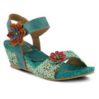 New In Box L'Artiste Women's Turquoise Multi LAISIS-TQM Leather Sandals