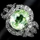 ATTRACTIVE GREEN APPLE PERIODT MAIN STONE 3.80 CT. SAPP 925 SILVER RING SZ 6.25
