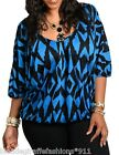 Blue/Black Geo/Retro Tribal 1/2 Sleeve Plus Blouse Top