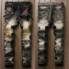 Fashion Mens Ripped Jeans Retro Vintage Washed Print Skinny Denim Trousers Pants