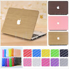 """Wood Pattern Leather Matte Hard Case +Keyboard Cover for MacBook AIR PRO 13"""" 15"""""""