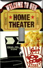 HOME THEATER WELCOME WITH POPCORN MOVIE CLAPPER HOME DECOR LIGHT SWITCH PLATES
