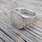 A Stylish Scratched and Distressed Silver Signet ring.