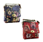 House of Tweed Large Messenger Bag in Flower Pattern In Red or Blue