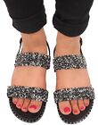 New Ladies Black Pearl Embedded Glittery Dual Strap Sandals Beach Party Slippers