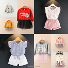 2pcs Kids Infant Baby Girls Outfits Clothes T-shirt Tops + Shorts Tutu Skirt Set