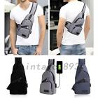 Men's Sling Bag With USB Charging Chest Crossbody Shoulder Bags Polyester US