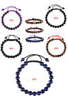 Gemstone Beads Macrame Closure Bracelet 8 mm Adjustable Braided Wrist Jewelry