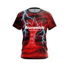 Brunswick Men Dye Sub Electrical Tornado Red CoolWick Bowling Shirt
