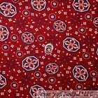 BonEful FABRIC Cotton Quilt Red Blue White Flower Band*ana Cow*boy Country SCRAP
