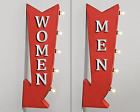 Mens Womens Restroom Bathroom Metal Double Sided Marquee Arrow Light Up Sign