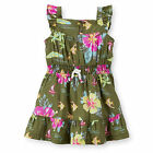 Carters 6 Months Woven Printed Dress Set Baby Girl Clothes Green Floral Cotton