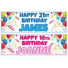 2 x Personalised Birthday Banners Balloons Extra Large 900mm x 300mm