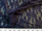 Payless Fabric Stretch Mesh Lace Navy Embroidered Floral Sheer
