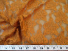Payless Fabric Stretch Mesh Lace Harvest Orange Embroidered Floral Sheer