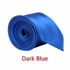 Classic Mens Slim Skinny Wedding Solid Plain Satin Tie Necktie color <br/> ◆Colorful Ties◆Fast Delivery◆Good Quality◆UK seller◆