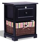 Retro 2 Tiers 1Drawer Wood Bedside Nightstand Table w/Basket Bedroom Furniture