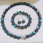 6/8/10/12mm Gray Gleamy Rainbow Moonstone Round Beads Necklace Bracelet Earrings image