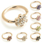 ROSE GOLD PVD SURGICAL STEEL HINGED RING WITH CRYSTAL FLOWER 1.2mm (16g)