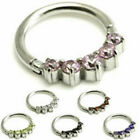 SURGICAL STEEL HINGED SEGMENT RING WITH 5 SMALL CRYSTALS ~ 1.2mm (16g)