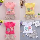 Toddler Kids Baby Girl Outfit Lolly T-shirt Tops+Short Pants Clothes 2PCS Set