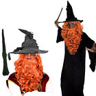 WIZARD CLOAK WITH GINGER WIG AND BEARD SET COSTUME MAGICAL FILM PROF FANCY DRESS