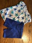Gymboree Toddler Girls Size 4 Starfish Top & 4T Shorts Outfit
