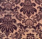 Copper with Maroon Small Damask - Flocked Velvet Faux Silk Taffeta Fabric
