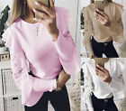 Womens Casual Lace Long lotus leaf Sleeve T-shirt Ladies Tops Loose Blouse Solid