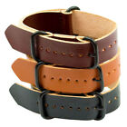 GENUINE Leather NATO MOD military watch strap band black PVD buckle brown tan