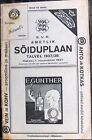 1937/38 Estonia Railroad Railway Plane Ship Public Timetable with Map and Ads
