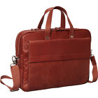 Mancini Leather Goods Colombian Leather Double Non-Wheeled Business Case NEW