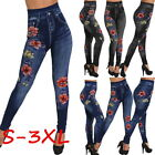Fashion Women Leggings Pants High Waist Rhinestone Jeans Rose Print Trouser Sexy