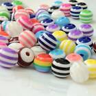 100pcs 6~14mm Mixed Colors  Rainbow Strips Resin Round Loose Spacer Beads