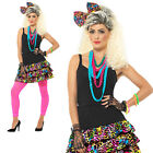 80s Party Girl Skirt Headpiece & Necklace Adult Womens Ladies Fancy Dress Outfit