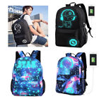 Luminous Galaxy Anti-theft Lock USB Charger Men Women Backpack School Travel Bag