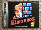 Classic NES Super Mario Bros Instruction Manual Only Game Boy Advance GBA