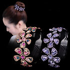 Womens Crystal Flower Big Dish Hair Clips Pins Claw Clamp Round Hair Accessories