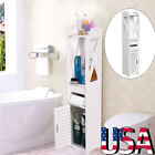 White Finish Linen Tower Bathroom Towel Storage Cabinet Tall