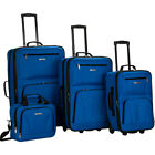 Rockland Luggage Deluxe 4 Piece Luggage Set 5 Colors