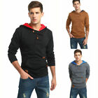 Cotton Jacket Outwear Mens Sweater Pullover Hoodie Hooded Plain Sweatshirt O1333