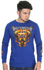 Harley-Davidson Mens Antagonist Flaming Skull Engine Blue Long Sleeve T-Shirt $10.99 USD on eBay