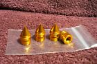 NOS GOLD SPIKE VALVE STEM CAP AUTO TRUK MOTORCYCLE HOT RAT ROD BIKE ACCESSORY