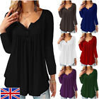 UK Women's V-Neck Long-Sleeved Pleated Button Casual Loose T-shirt Top Blouse