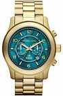 Michael Kors Watch Hunger Stop MK8315 Gold Turquoise Blue Oversized Dial