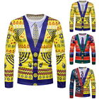 Fashion NEW Mens Christmas Round Neck Long Sleeve Fake Two Pieces Shirt