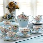 21 Pieces Vintage English Style Set Bone China Tea Kettle Teapot & Saucers