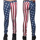 LIP SERVICE ROCKER USA AMERICAN FLAG PRINT MEN'S SKINNY JEANS PANTS M63-575-RWB